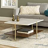 Walker Edison Furniture Company Modern Metal Base Square Coffee Table Living Room Accent Ottoman Storage Shelf, 32 Inch, Marble, Gold