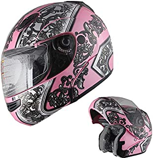 Motorcycle Helmet Adult DOT Modular Flip up Full Face Sports Bike Helmet (138 Pink, M)