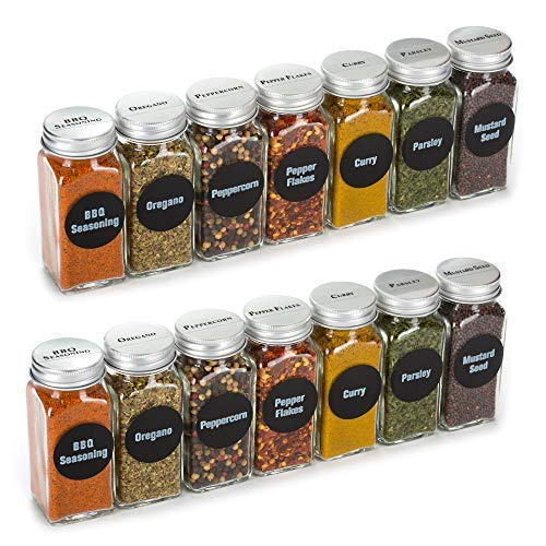 4oz, BEST VALUE 14 Glass Spice Jars includes pre-printed 113 CLEAR PVC labels & round 126 CHALKBOARD labels. 14 Square Empty Jars, Airtight Cap, kitchen Funnel Pour/Sift Shakers
