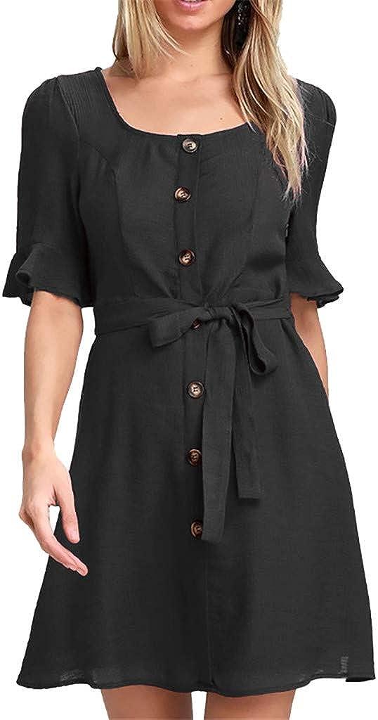 TIMEMEANS Clearance Half Sleeve Dress Womens Casual Square Collar Button Belt Mini Dress