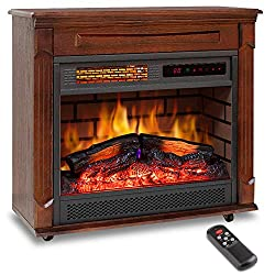 "LIFEPLUS 27"" Electric Fireplace Mantel Heater Freestanding Infrared with Remote Control 12h Timer with Log Flame Effect LED Display Adjustable Thermostat Overheat Shut Off for Office Home"