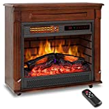 LifePlus 27' Electric Fireplace Mantel Heater Freestanding Infrared with Remote Control 12h Timer with Log Flame Effect LED Display Adjustable Thermostat Overheat Shut Off for Office Home