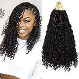7 Packs 12 Inch Crochet Box Braids Hair with Curly Ends Prelooped Bohemian Goddess Box Braids Crochet Hair Braiding Hair Crochet Braids Hair for Black Women (Bohomian 12 Inch 7 Packs, 1B#)