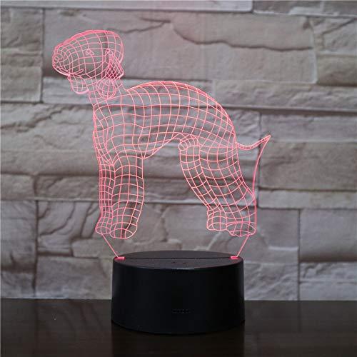 3D Illusion Nuit Lumière Caniche animal de compagnie Led Bureau Table Lampe 7 Couleur Tactile Lampe Maison Chambre Bureau Décor Pour Enfants D'Anniversaire De Noël Cadeau