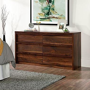 Sauder Harvey Park 6 Drawer Dresser in Grand Walnut
