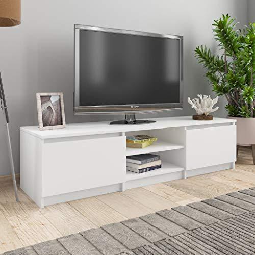 UnfadeMemory Mueble para TV Moderno,Mesa para TV,Mueble de hogar,con 2 Cajones y 2 Compartimentos Abiertos,Estilo Clásico,Madera Aglomerada (Blanco, 140x40x35,5cm)