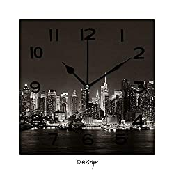YOLIYANA 8 Inch Square Face Silent Wall Clock Midtown Skyline Over River in New York City with Skyscrapers at Night Unique Contemporary Home and Office Decor