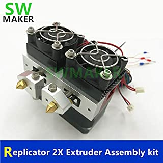 Zamtac Replicator 2X Extruder Assembly kit K thermocouple 0.4mm Nozzle Dual Metal extruder Set with NEMA 17 Motor