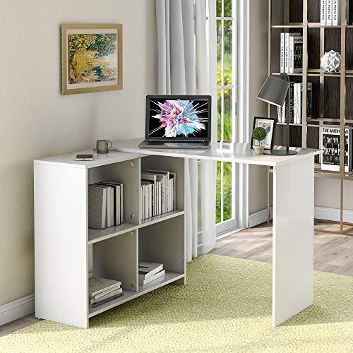 ModernLuxe - Scrivania ad angolo, scrivania per computer, per studio, casa, ufficio, soggiorno, colore: Bianco