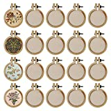 20 Pack Mini Embroidery Hoop, Mini Ring Wooden Embroidery Hoops, Circle Cross Stitch Hoop Ring Small Display Frame for DIY Frame Craft Favors
