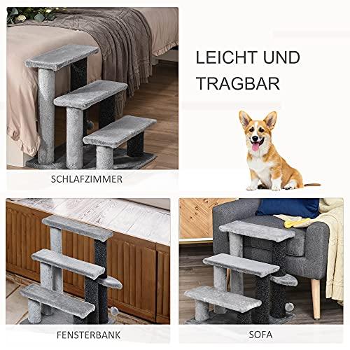 Pawhut Haustiertreppe mit Ball 3-stufige Katzentreppe Hundetreppe Tiertreppe Spanplatte Plüsch Grau 45 x 40 x 48 cm