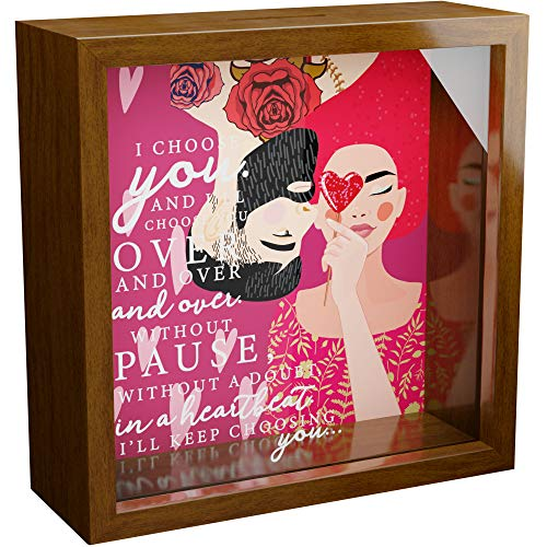 Couples Gifts | 6x6x2 Memorabilia Shadow Box | Love Gift for Girlfriend or Boyfriend | Romantic Relationships Keepsake Gift | Anniversary Couple Gifts for Him and Her