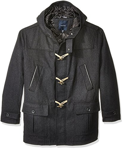 Nautica Men's Big and Tall Wool Toggle Coat, Charcoal, 4X