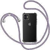 Funda con Cuerda para iPhone 11, Carcasa Transparente TPU Suave Silicona Case con Correa Colgante Ajustable Collar Correa de Cuello Cadena Cordón para iPhone 11 6.1'' - Violeta Claro