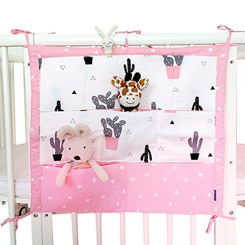 Sistema colgante de almacenamiento para cuna con 9 bolsillos, para ropa, pañales, juguetes rosa G