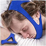 Anti Snoring Chin Strap for Better Sleep Snoring Solution Instant Stop Snore Remedies Aids Snoring Relief Devices Anti Snore Jaw Supporter by AirPromise Adjustable Size (T Blue)