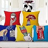 Kkoqmw Sistema de Manga de cojín de sofá Zócalo de Almohada 5 Piezas de Cubierta de la Cama de Maridina Creativo Rojo Flor de la Tienda Dormitorio Sala de Estar Decoración del hogar