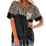 Camisas para Mujer Estampado de Leopardo de Manga Corta Simple con Nudo Torcido, Blusa de Citas de Entrenamiento con Cuello en O Suelto Informal de Moda Pullover 2021