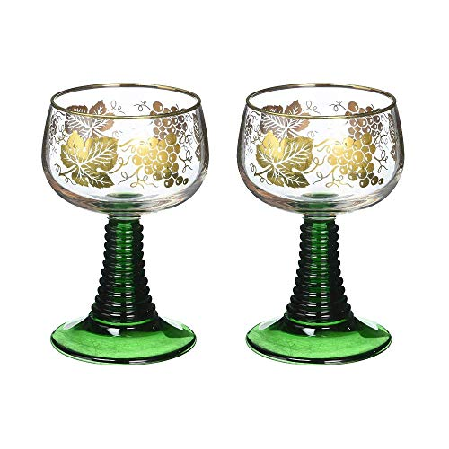 Set of 2 German Rhein Glass Roemer Vintage Goblet Wine Glass w/Gold-Leaf Rim and Grape Pattern Vintage Wine Glass Goblet