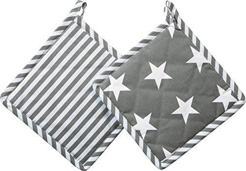 REDBEST Topflappen in Wendeoptik 2er- Pack grau Größe 20x20 cm - Sterne und Streifen, hitzebeständige Wattierung, feines, glattes Gewebe (weitere Farben)
