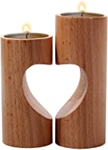 Romantic Tea Light Candle Holders Decorative, Wood Tealight Candle Holder Set of 2 Unity Heart Pedestal for Home Decor Gift