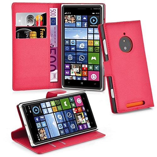 Cadorabo Hülle für Nokia Lumia 830 - Hülle in Karmin ROT – Handyhülle mit Kartenfach & Standfunktion - Hülle Cover Schutzhülle Etui Tasche Book Klapp Style