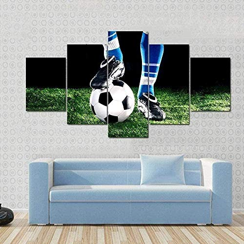 NC83 Cuadros Arte Paredes Lienzo 5 Piezas Balón de fútbol...