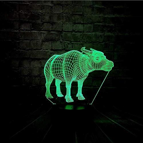Carga animal vaca mesa dormitorio niños visión 3D luz nocturna creativa regalo de vacaciones