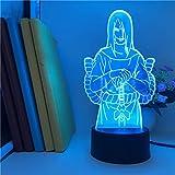Luces de Navidad Naruto Luz Orochimaru Reloj despertador Control 3D Luz Dormitorio Decoración Góndola Colorida Casa Noche Luz con Decoración Remota ERJIE