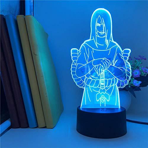 Lámpara de ilusión 3D, luz de noche LED, lámpara inteligente, luces de Naruto Orochimaru para dormitorio, coloridas con lámpara de luz con Sensor de movimiento remoto