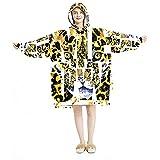 Sudadera con capucha de gran tamaño, manta de franela Sherpa con bolsillo para adultos, hombres y mujeres, fondo de acuarela de leopardo maullido patrón abstracto