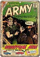 Fightin' Army Comic 注意看板メタル安全標識注意マー表示パネル金属板のブリキ看板情報サイントイレ公共場所駐車ペット誕生日新年クリスマスパーティーギフト
