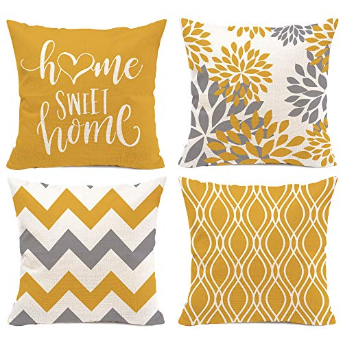Hexagram Yellow Geometric Pillow Covers 16x16 Set of 4,Decorative Couch Throw Pillow Cover for Sofa Bedroom,Cotton Linen Farmhouse Cushion Case Outdoor Home Decoration(Yellow)