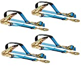 Mytee Products 4 Axle Straps Race Car Trailer Car Hauler Ratchet Tie Down Strap w/Snap Hooks