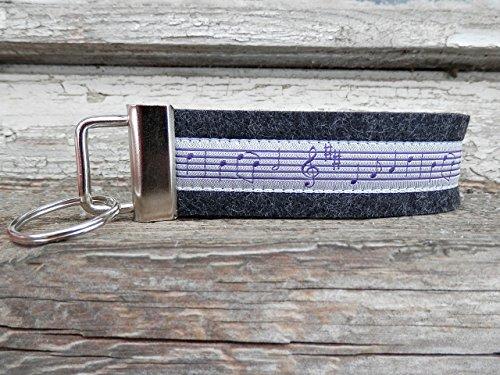 Schlüsselanhänger Schlüsselband Wollfilz schwarz grau Noten Musik Geschenk!