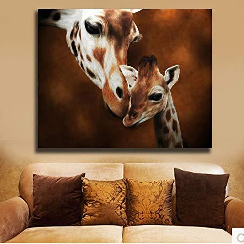KWzEQ Imprimir en Lienzo Jirafa Adulto y bebé Pared Arte Imagen decoración del hogar para Sala de Estar carteles80x80cmPintura sin Marco