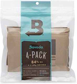 Boveda 84% RH 60 Gram, Patented 2-Way Humidity Control, (1) 4-Pack, Unwrapped Boveda, Resealable Bag; Up to 25 Cigars; Properly and Precisely Seasons a Wood humidor in one Easy Step Over 14 Days