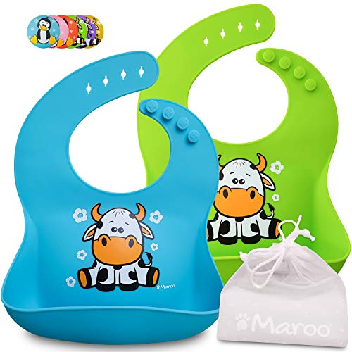 Baberos de silicona impermeables de alta calidad para bebés y niños de 6 meses a 4 años, bolsillo grande, suave, cómodo de limpiar, plegable en una bolsa de regalo. Ideal para asilo