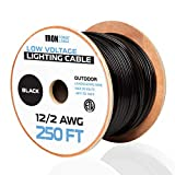 12/2 Low Voltage Landscape Wire - 250ft Outdoor Low-Voltage Cable for Landscape Lighting, Black