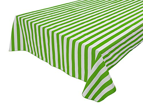 "Vpang 2 Pcs Striped Plastic Print Tablecloths Disposable Table Cover Thickened Rectangle Tablecover, Kitchen Picnic Wedding Birthday Party Table Covers, 54""x108"" (Green Stripe)"