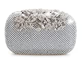 Bolso de fiesta con cristales de diamante, color plateado, con cierre de broche. Estilo sobre. Para bodas, fiestas de graduación y fiestas