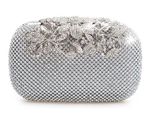 Bolso de fiesta con cristales, color plateado, con cierre de broche. Estilo sobre. Para bodas, fiestas de graduación y fiestas