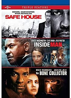 Denzel Washington Triple Feature Safe House, Inside Man & Bone Collector DVD