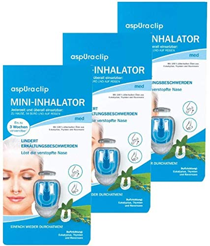 aspUraclip Mini-Inhalator med (3er Pack) | Erster Mini-Inhalator für die Nase | Mit 100% Bio-Ölen aus Eukalyptus,Thymian und Ravensara | Lindert Erkältungsbeschwerden und schleimlösend