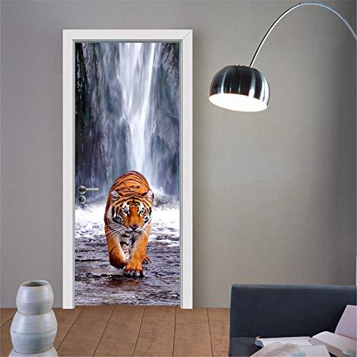ZZwy Door Stickers 3D Türaufkleber Türfolie Wasserloch Tiere Tiger (77 * 200Cm) Türposter 3D Selbstklebend Tapete Wasserdichtes Abnehmbare Wohnzimmer Wandtattoos PVC Wandbild