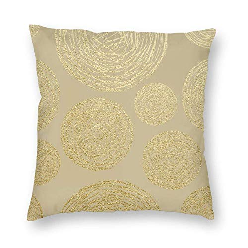 Circles Pattern. Abstract Gold Glitter Throw Pillows Covers Accent Home Sofa Cushion Cover Pillowcase Gift Decorative