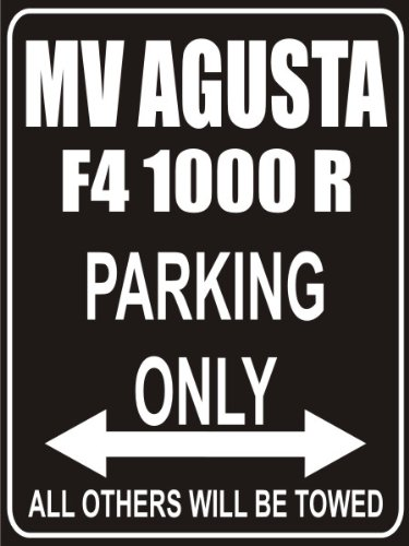 INDIGOS UG - Parking Only - MV Agusta f4000s - Garage/Carport - Parkplatzschild 32x24 cm schwarz/Silber - Alu-Dibond - Folienbeschriftung