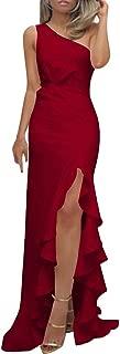 Alangbudu Women One Shoulder Mermaid Side Spilt High Low Asymmetrical Gown Long Formal Evening Party Elegant Dresses