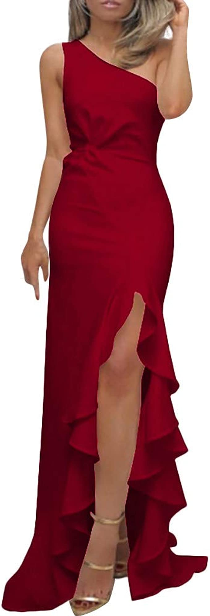 Kleider Damen Elegant Kanpola Frauen One Shoulder Ruschen Formale Abend Slim Maxi Kleid Abendkleider Cocktailkleid Partykleid Amazon De Bekleidung