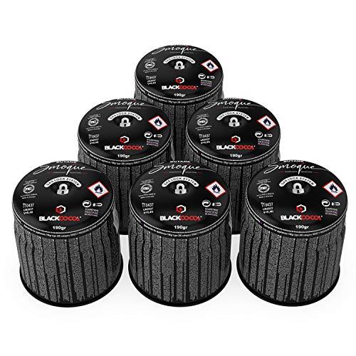 BLACKCOCO's 6X Gaskartuschen für Campingkocher Gas 190g Butangas Kartusche Stechkartusche für Gaskocher Gasgrill Camping Outdoor Kocher - Smoque